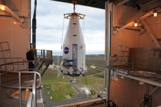 Landsat Data Continuity Mission LDCM Spacecraft Hoisted Aloft