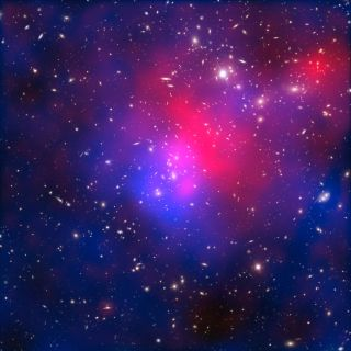Composite image of the galaxy cluster Abell 2744, also known as Pandora's Cluster, taken by the Hubble and Chandra space telescopes and the Very Large Telescope in Chile. Hot intracluster gas is shown in pink, and the blue overlay maps the location of dar