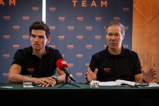 CCC Team manager Jim Ochowicz (right) continues to search for a new main sponsor, but will have to bid farewell to star rider Greg Van Avermaet (left), who will join AG2R La Mondiale in 2021