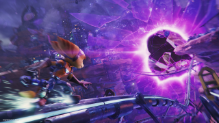 Ratchet grinding a rail towards a rift opening in Ratchet and Clank: Rift Apart
