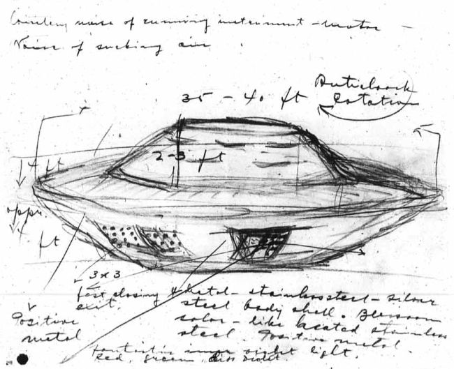 Stefan Michalak made this sketch of the UFO he encountered at Falcon Lake shortly before approaching it.