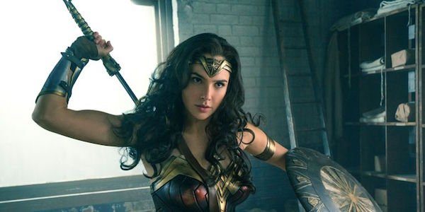 Wonder Woman with her sword in the first film