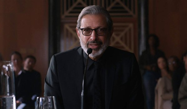 Jurassic World: Fallen Kingdom Dr. Ian Malcolm testifies with a grave look in his face