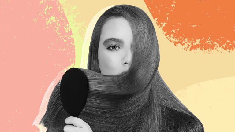 olaplex no 3 review: A collage image of a woman brushing her glossy hair on a colorful collage background