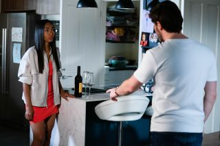 Chelsea Fox is confronted by Gray Atkins in EastEnders