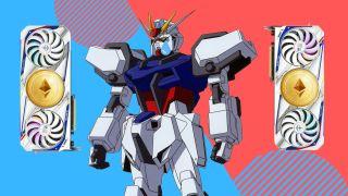 Sad Gundam looking at mining RTX 3080 Gundam-themed GPUs