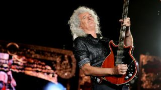 Brian May of Queen performs at ANZ Stadium on February 15, 2020 in Sydney, Australia.