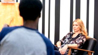 Jodie Kidd sits down for a portrait in the fifth season of Portrait Artist of the Year