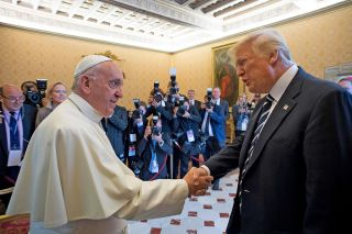 Pope Francis meets with President Donald Trump on May 24, 2017, in Vatican City.