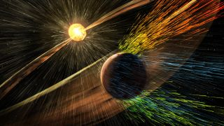 An artist's impression of the effect of a solar storm on Mars, as charged particles strip away it atmosphere.