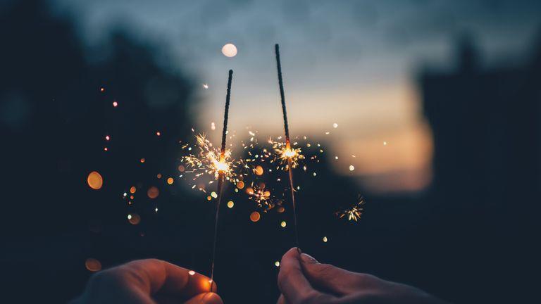 sparklers lit for Bonfire night