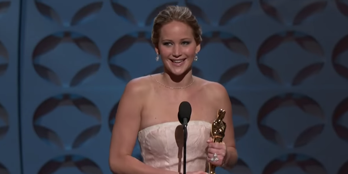 Jennifer Lawrence accepting her Oscar, Silver Linings Playbook 2013