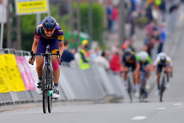 Alena Amialiusik (CanyonSRAM) wins stage two of the 2021 Lotto Belgium Tour in Galmaarden