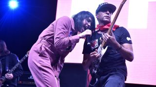 """K. Flay (L) and Tom Morello perform as part of the """"ACLU 100 Concert"""" during the 2019 SXSW Conference and Festival on March 09, 2019 in Austin, Texas."""