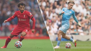 Mohamed Salah of Liverpool and Jack Grealish of Manchester City