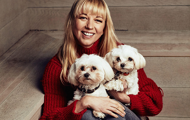 Sara Cox with her dogs