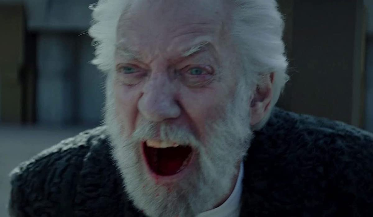 Donald Sutherland as President Snow in Hunger Games Mockingjay Part 2