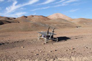 A trial rover exploring Chile's Mars-like Atacama Desert.