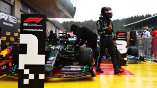 Pole position qualifier Lewis Hamilton of Great Britain and Mercedes GP celebrates in parc ferme during qualifying for the Formula One Grand Prix of Styria at Red Bull Ring on July 11, 2020 in Spielberg, Austria.