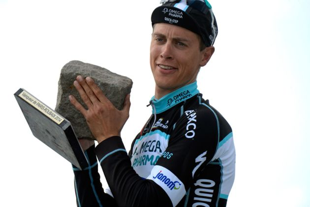Niki Terpstra with his 2014 winner's trophy. Photo: Graham Watson.