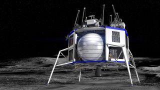 An artist's concept of Blue Origin's Blue Moon lander.