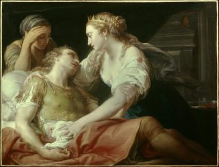 In this oil painting, Cleopatra sits beside the dying Mark Antony.