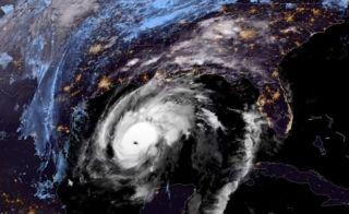 Satellite imagery shows Hurricane Zeta approaching Louisiana.