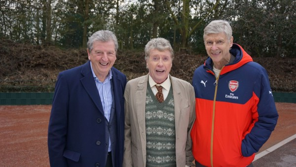 England football manager Roy Hodgson (left) and Arsenal manager Arsene Wenger (right) joining Michael Crawford in a Some Mothers Do 'Ave 'Em Sport Relief sketch.