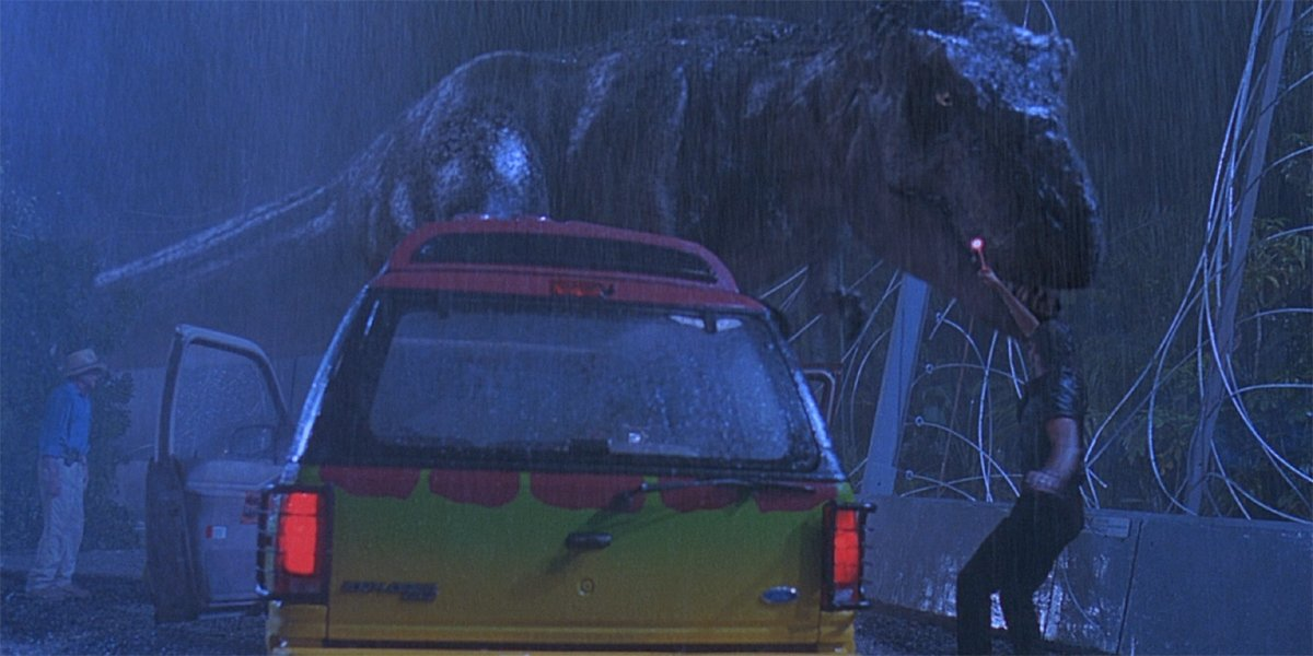Jurassic Park T-rex chases Ian Malcolm