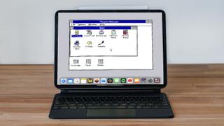 Windows 3.1 running on a 2021 iPad Pro in keyboard mode