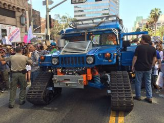 One of two electric-powered Hummers led the March for Science Los Angeles.