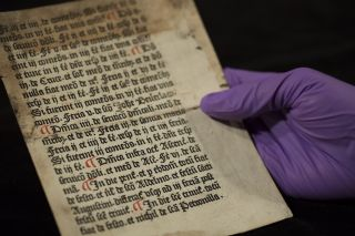 This 540-year-old page, ripped from a medieval priests' handbook, was found in a library at the University of Reading.