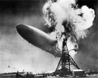 The Hindenburg disaster at Lakehurst, New Jersey, which marked the end of the era of passenger-carrying airships.