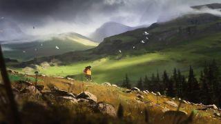 A girl runs through the Scottish Highlands