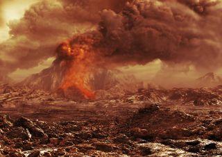 Artist's impression of an active volcano on Venus