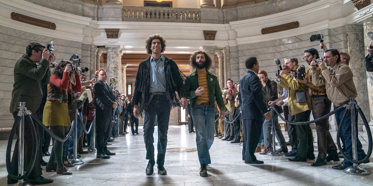 Sacha Baron Cohen and Jeremy Strong in The Trial of the Chicago 7
