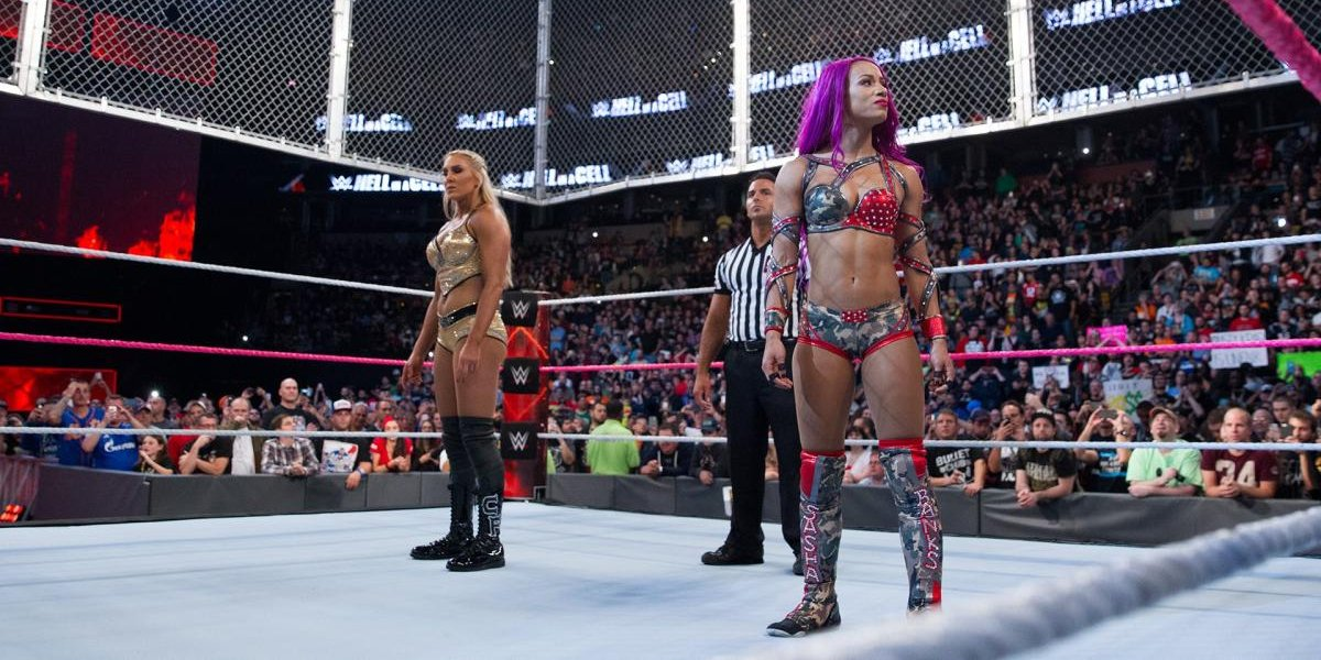 Charlotte Flair and Sasha Banks at Hell in a Cell