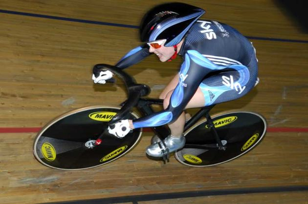 Victoria Pendleton Team Sky+HD silver medal women's 500m time trial 2009 Manchester world cup.jpg