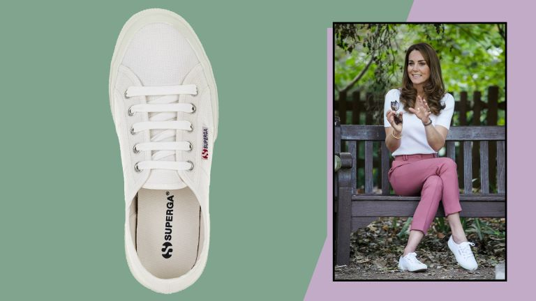 Superga white cotu classic trainers on green background next to image of Kate Middleton wearing the shoes on a lilac background