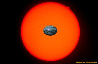 Artist's concept of a stretched-out rocky planet closely orbiting a red dwarf star. There is a difference in the strength of the gravitational field on each side of the planet so close to the star, stretching the world significantly.