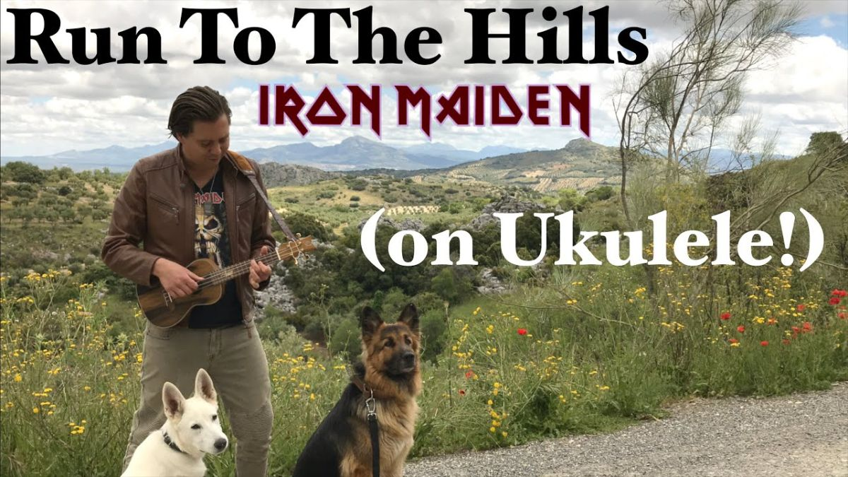 Man slays Iron Maiden's Run To The Hills on ukulele while watched by two dogs