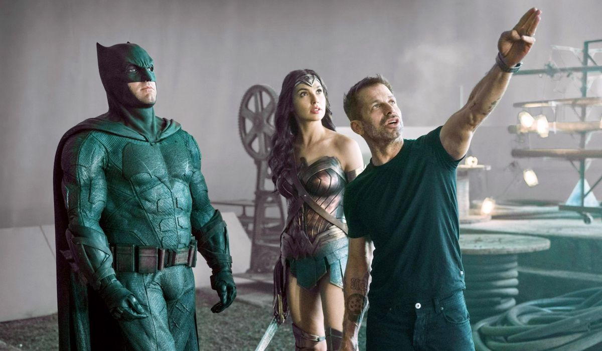 Zack Snyder, Ben Affleck as Batman and Gal Gadot as Wonder Woman on Justice League set
