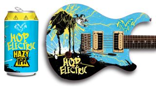 Flying Dog's new Hop Electric IPA (left) and a new, custom PRS SE Custom 24 inspired by the design of the Hop Electric's can