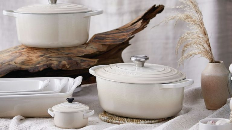 Le Creuset miringue colour cookware neutrally styled with pampas grass