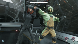An image from the video game Marvel's Avengers. The superhero Black Window is breaking an AIM Agent's arm.