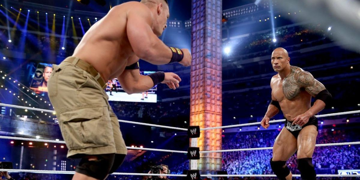 John Cena and The Rock square off in their WrestleMania 29 title match
