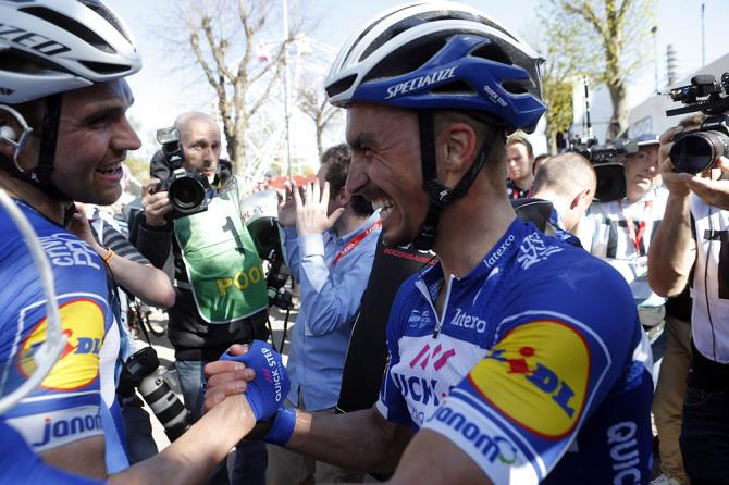 Julian Alaphilippe (Quick-Step Floors) celebrates his victory at 2018 Fleche Wallonne