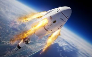 An artist's impression of SpaceX's Crew Dragon spacecraft separating from the Falcon 9 rocket during the in-flight abort test.