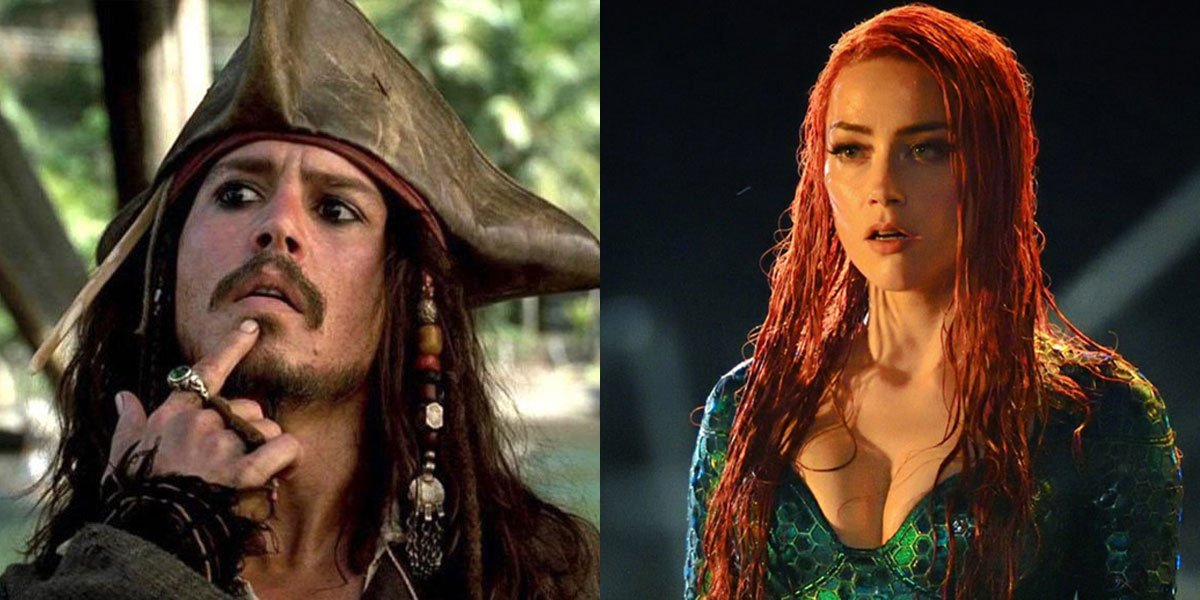Johnny Depp and Amber Heard side by side