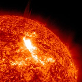 NASA's Solar Dynamics Observatory captured a huge solar flare erupting from the sun on Jan. 23, 2012.
